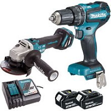 Makita 18V LXT Angle Grinder + Combi Drill with 2
