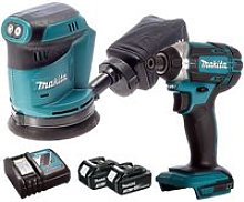 Makita 18V LXT Impact Driver + Orbit Sander with 2