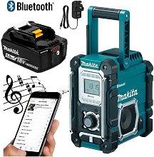 Makita DMR106 Job Site Radio Blue Bluetooth AM FM 7.2- 18v 240v + BL1850 Battery