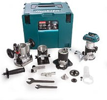 Makita DRT50ZJX3 18v Router with 4 Bases & 2 Guides