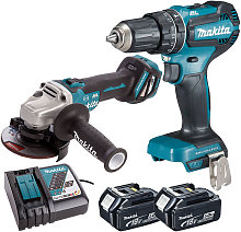 Makita Twin Pack Angle Grinder + Combi Drill with