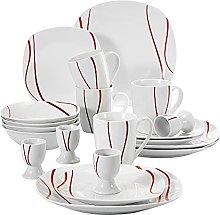 MALACASA, Series Felisa, 20-Piece Dinner Set Red