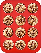 Mallery Silicone Muffin Tray 12 Cups, Non-Stick