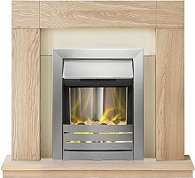 Malmo Fireplace Suite in Oak with Helios Electric