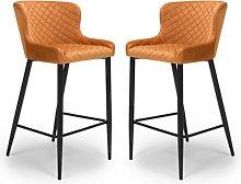 Malmo Orange Velvet Fabric Bar Stool In Pair With