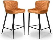 Malmo Orange Velvet Fabric Bar Stool With Metal
