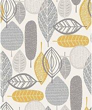 Malmo Retro Nature Leaf Design Wallpaper - Ochre