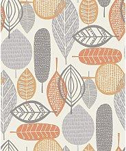 Malmo Retro Nature Leaf Design Wallpaper - Orange
