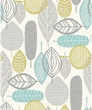 Malmo Retro Nature Leaf Design Wallpaper - Teal