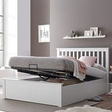 Malmo White Wooden Ottoman Bed Frame - 4ft6 Double