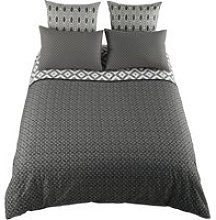 MALONI cotton king size bedding set in grey 240 x