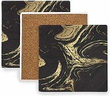 MALPLENA Black and Gold Marble Texture Coasters