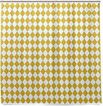 MALPLENA Shower Curtain Harlequin Mustard Offwhite