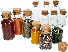 MamboCat Set of 12 Spice Jars with Corks 6 x 150
