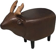 MAMINGBO Footstool Low Stool Solid Leather Small