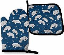 Manatee Fabric Manatees Dugong Animals Design -