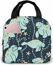 Manatee Night Garden Lunch Tote Bag Insulated Soft