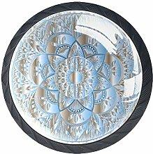 Mandala 4 Pack Round Drawer Knobs Crystal Glass