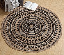 Mandala Large Round Braided Jute Rug Reversible