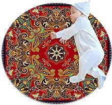 Mandala, Printed Round Rug for Kids Family Bedroom