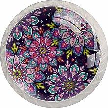 Mandala Purple 4 Pieces Crystal Glass Wardrobe