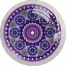 Mandala Purple Blue 4 Pieces Crystal Glass