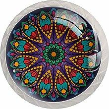 Mandala Round Cabinet Knobs 4pcs Knobs for Dresser