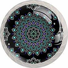 Mandala with Dots Blue and White Circles Set of 4