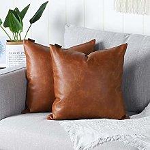 Mandioo Brown Faux Leather Decorative Cushion
