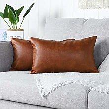 Mandioo Brown Faux Leather Decorative Lumbar