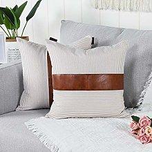 Mandioo Khaki Farmhouse Decorative Cushion Covers