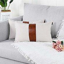 Mandioo Khaki Lumbar Farmhouse Decorative Cushion