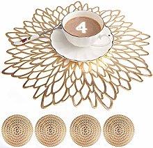 Mangata Gold Placemats and Coaster Sets, Round