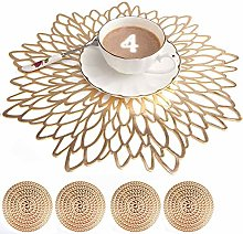 Mangata Gold Placemats and Coaster Sets, Round