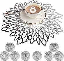 Mangata Silver Placemats and Coaster Sets, Round