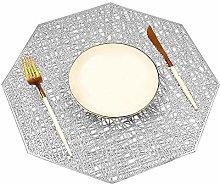 Mangata Silver Placemats, Washable Kitchen Dinner