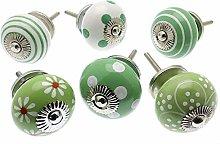Mango Tree - Ceramic Door Knobs in Apple Green and