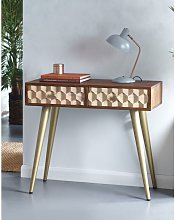 Mango Wood 2 Drawer Console Hallway Desk Table Two