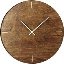 Mango Wood and Gold Metal Clock D81