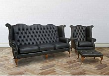 Mangume Chesterfield 3 Piece Leather Sofa Set