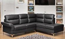 Manhattan Bonded Leather Corner Sofa: Black