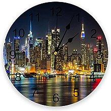Manhattan City Night View 3D Wall Clock Modern