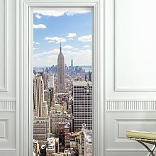 Manhattan View Door Sticker East Urban Home