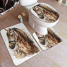 MANISENG 3 Piece Bathroom Rugs Set,Horse Head