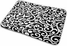 MANISENG Bath Mat Bathroom Rugs,Black White In