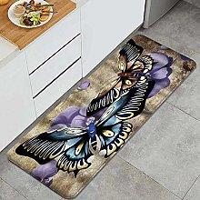 MANISENG Kitchen Rug,Beautiful Butterfly Purple