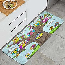 MANISENG Kitchen Rug,Birds Owls in The Tree for