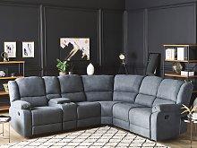 Manual Recliner Sofa Grey Fabric Corner Sofa 5