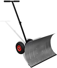 Manual Snow Shovel with Wheels - Silver