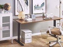 Manually Adjustable Desk Dark Wood Tabletop Black